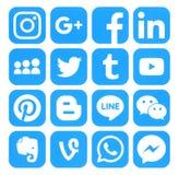 Samling av populära blåa sociala massmediasymboler