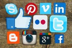 Samling av populära sociala massmedialogoer Royaltyfri Bild