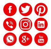Samling av populära sociala massmedialogoer Arkivbilder