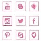 Samling av populära sociala massmedialogoer från det salta havet vektor illustrationer