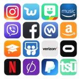 Samling av populärt socialt massmedia, affär, fotologoer royaltyfri illustrationer