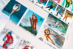 Samling av portostämplar Royaltyfri Bild