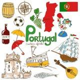 Samling av Portugal symboler royaltyfri illustrationer