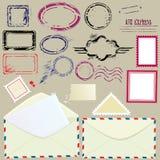 Samling av postdesignbeståndsdelar Royaltyfria Bilder