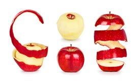 Samling av äpplen med peelen Arkivbild
