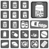Samling av preventivpillerar Arkivbild