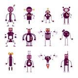 Samling av purpurfärgade robotsymboler stock illustrationer