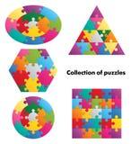 Samling av pussel - 5 färgrika diagram Arkivfoto