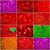 Samling av röd hjärtabokehbakgrund Valentindagtextur royaltyfri fotografi
