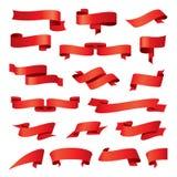 Samling av röda band för vektor Royaltyfria Bilder