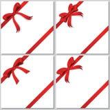 Samling av röda bows Royaltyfria Bilder