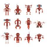 Samling av röda robotsymboler royaltyfri illustrationer