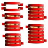 Samling av rött med guld- band Royaltyfri Fotografi