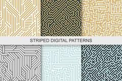 Samling av randiga sömlösa geometriska modeller färgrik textur digital bakgrund vektor illustrationer