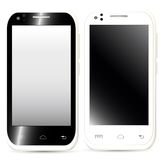 Samling av realistiska mobiltelefoner med den tomma skärmen i svart Royaltyfri Fotografi