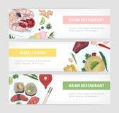 Samling av rengöringsdukbanermallar med smakliga traditionella mål av asiatisk kokkonst som ligger på plattor och stället för tex royaltyfri illustrationer