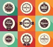 Samling av retro etiketter, emblem, stämplar och band för tappning Royaltyfri Fotografi
