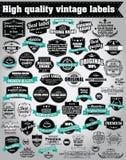 Samling av retro etiketter för tappning, emblem, stämplar, band Royaltyfri Bild