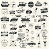 Samling av retro etiketter för tappning, emblem, stämplar, band Fotografering för Bildbyråer