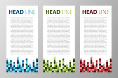 Samling av retro fyrkantiga kvarter, PIXELtextask för rengöringsduken, app, tidskrift kantlagrar låter vara vektorn för oakbandma Fotografering för Bildbyråer