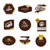 Samling av retro utformade kaffeetiketter. Royaltyfri Foto