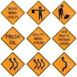 Samling av roadworkvarningstecken som används i USA stock illustrationer