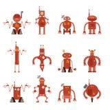 Samling av robotsymboler vektor illustrationer