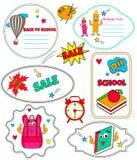 Samling av roliga etiketter tillbaka till skolan royaltyfri illustrationer