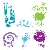 Samling av roliga monster för din design Stock Illustrationer