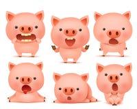 Samling av roliga svinemoticontecken i olika sinnesrörelser royaltyfri illustrationer