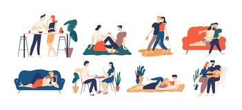 Samling av romantiska par som spenderar tid eller tillsammans kopplar av - ha picknicken, läseböcker och att dricka kaffe eller v vektor illustrationer