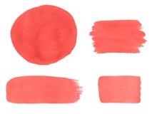 Samling av rosa vattenfärgdesignbeståndsdelar på vit bakgrund Royaltyfri Bild
