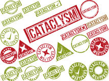 Samling av 22 rubber stämplar för röd grunge med text Royaltyfria Foton