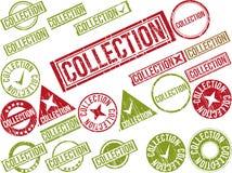 Samling av 22 rubber stämplar för röd grunge med text Arkivfoto