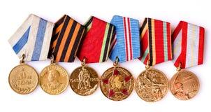 Samling av ryska (sovjetiska) medaljer Arkivfoto