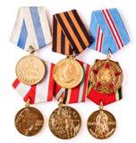 Samling av ryska (sovjetiska) medaljer Arkivbilder