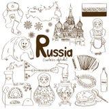 Samling av Ryssland symboler Arkivfoton