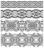 Samling av sömlösa dekorativa blom- band, Arkivbilder