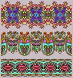 Samling av sömlösa dekorativa blom- band Arkivfoton