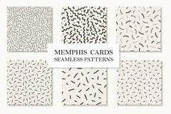 Samling av sömlösa memphis modeller, kort Mosaisk kurva, strecktexturer Retro design 80 - 90-tal royaltyfri illustrationer