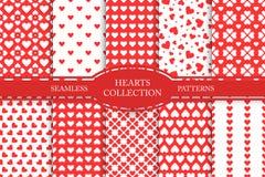 Samling av sömlösa modeller för hjärtor lyckliga valentiner för dag Arkivfoto