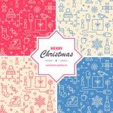Samling av sömlösa modeller för jul och för nytt år Uppsättning av festliga texturer för rengöringsduk eller tryck Arkivbild