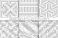 Samling av sömlösa randiga modeller Repeatable vide- textur för vit och för grå färger royaltyfri illustrationer