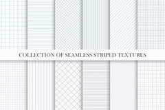 Samling av sömlösa randiga texturer för vektor Liknande till papper Geometriska repeatable enkla modeller royaltyfri illustrationer