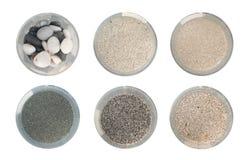 Samling av sand från olika hav och kontinenter royaltyfria foton