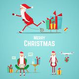 Samling av Santa Claus symboler Festmåltid av jul Royaltyfri Bild