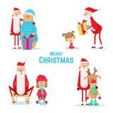 Samling av Santa Claus symboler Festmåltid av jul Royaltyfri Foto
