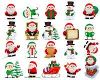 Samling av Santa Clauses, elfs, snowmans vektor illustrationer