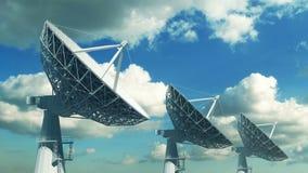 Samling av satellit- disk mot blå himmel royaltyfri illustrationer