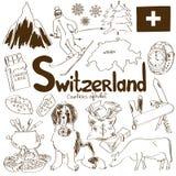 Samling av Schweiz symboler Fotografering för Bildbyråer
